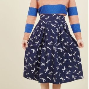 Emily and Fin Skirts - Emily and Fin Modcloth Airplanes Print Midi Skirt